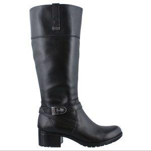 Bandolino Baya Black Leather Riding Boots Size 8.5